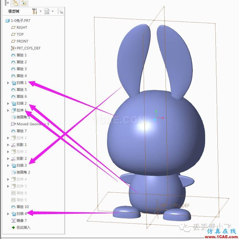 creo/proe兔子VSS(可变截面扫描)建模pro/e相关图片1
