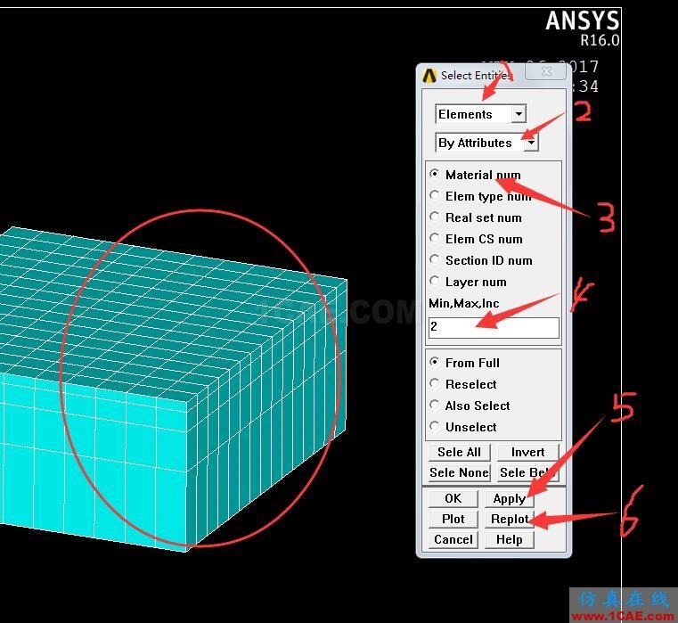 Ansys APDL如何只查看某种材料的网格?,Ansys培训、Ansys有限元