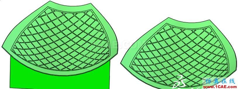 由于滤网的网格形状,我们首先会想到是运用阵列特征,但是考虑到滤网整体是一个规则曲面结构,直接进行阵列是无法实现的。同时滤网上每条支架的轨迹都是沿着曲面生成,假如我们使用扫描特征的方法来操作,扫描特征的路径就无法快速完成,因为无论是投影曲线还是分割曲线都不支持多条开放轮廓线同时操作,所以只能进行多步扫描,工作量就比较大,并且滤网边界上结合位置无法保证,如下图所示。